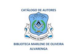 catálogo de autores biblioteca marlene de oliveira alvarenga