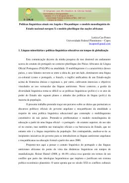 Políticas linguísticas atuais em Angola e Moçambique: o modelo