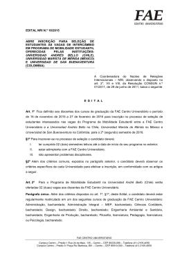 EDITAL NRI N.º 18/2015 Abre inscrição para seleção de