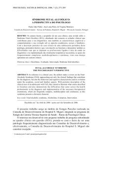SÍNDROME FETAL-ALCOÓLICO - Sociedade Portuguesa de