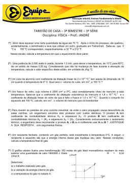 TAREFÃO DE CASA – 3º BIMESTRE – 3ª SÉRIE Disciplina: FÍSICA
