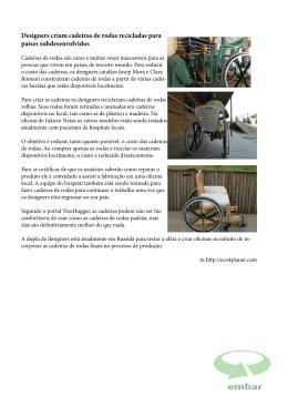 Designers criam cadeiras de rodas recicladas para países