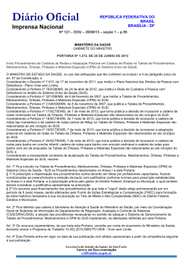 Portaria/GM/MS nº 1.272, de 25/6/13, publicada no DOU