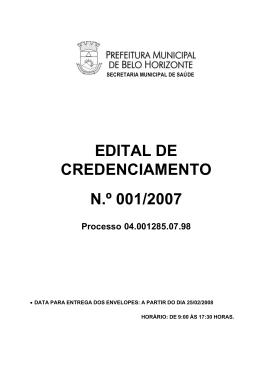 Edital - Prefeitura Municipal de Belo Horizonte