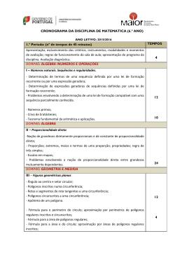 CRONOGRAMA DA DISCIPLINA DE MATEMÁTICA (6.º ANO) 1.º