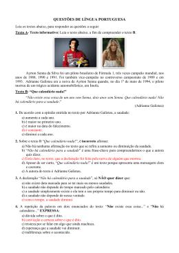Gabarito da Prova do Processo Seletivo CAVN 2015.2 (Nutrição e