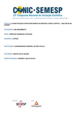 TÍTULO: A CONSTITUIÇÃO ETHOS - O Conic