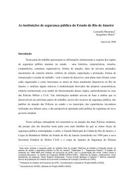 As instituições de segurança pública do Estado do Rio de