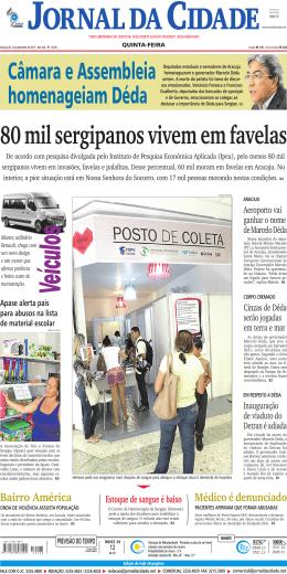 80 mil sergipanos vivem em favelas