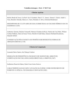 Trabalhos destaques - Oral - 4º SICT Sul Ciências Agrárias Murilo