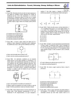 Lista de Eletrodinâmica - Fuvest, Unicamp, Unesp