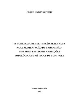 ESTABILIZADORES DE TENSÃO ALTERNADA