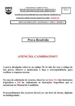 Gabarito Oficial - CFS-B 2/2006