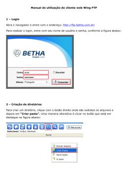 Manual de utilização do cliente web Wing FTP 1 – Login Abra o