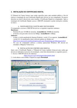 3. INSTALAÇÃO DO CERTIFICADO DIGITAL O Tribunal de