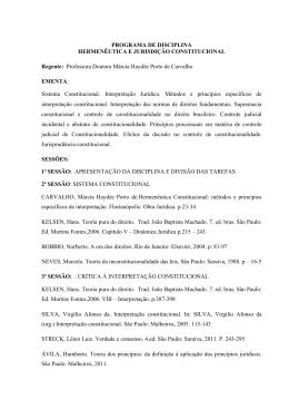 PROGRAMA DE DISCIPLINA HERMENÊUTICA E JURISDIÇÃO