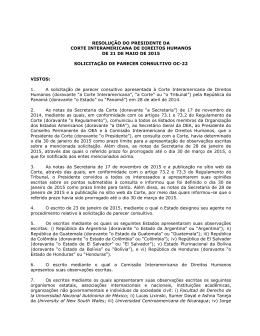 resolução do presidente da corte interamericana de direitos