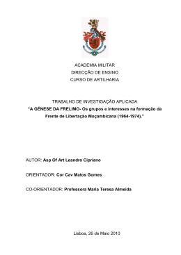 A génese da FRELIMO : os grupos e interesses na formação da