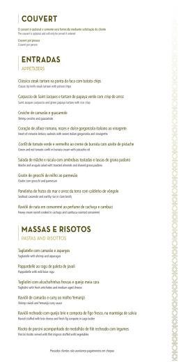 ENTRADAS MASSAS E RISOTOS COUVERT