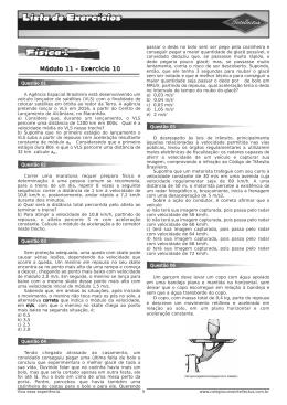 Lista de exercícios 3 Ano Apostila 02 Fisica I Modulo 11