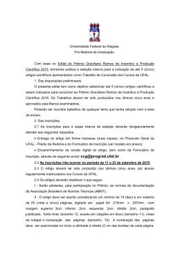 Edital Prêmio Graciliano Ramos - Universidade Federal de Alagoas