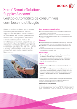 Xerox® Smart eSolutions SuppliesAssistant® Gestão automática de