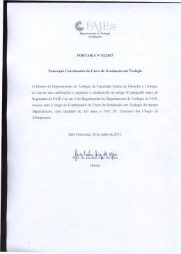 Nomeação do Coordenador do Curso de Graduação em Teologia