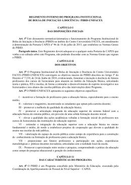 REGIMENTO INTERNO DO PROGRAMA INSTITUCIONAL