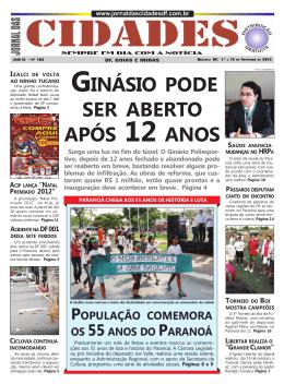 GINÁSIO PODE SER ABERTO APÓS 12 ANOS Surge