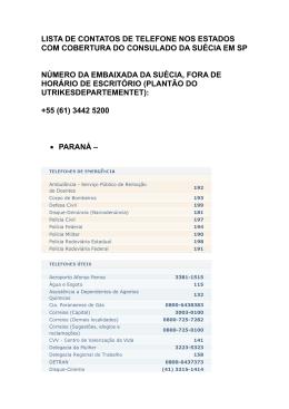 Telefones úteis e de emergência para os estados de São Paulo