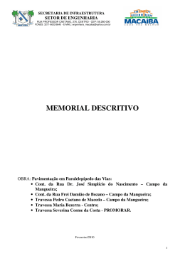 MEMORIAL DESCRITIVO - Prefeitura de Macaíba