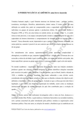 O PODER NO LÓCUS ACADÊMICO - Prof. Dr. Luiz Carlos dos Santos