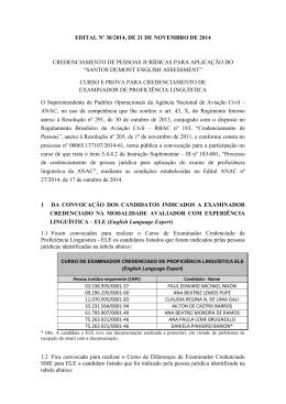 Anexo I – Edital nº 30/2014, de 21 de novembro de 2014.