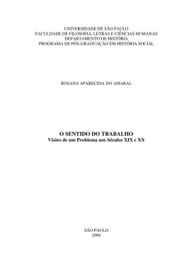 O sentido do trabalho - Biblioteca Digital de Teses e Dissertações