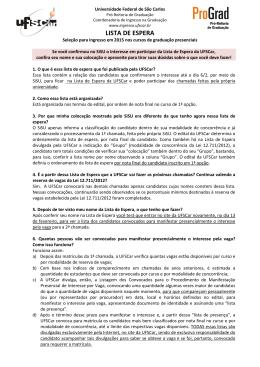 LISTA DE ESPERA - Universidade Federal de São Carlos
