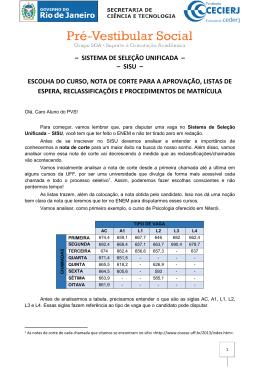 SISU – ESCOLHA DO CURSO, NOTA DE CORTE PARA A