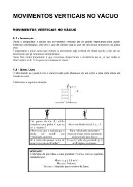 MOVIMENTOS VERTICAIS NO VÁCUO - Cursinho PET