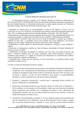 Carta dos Municípios Brasileiros para a Rio+20 Os Municípios