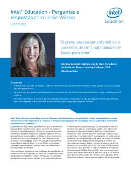 Intel® Education - Perguntas e respostas com Leslie Wilson