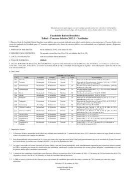 www. Faculdade Batista Brasileira Edital – Processo Seletivo