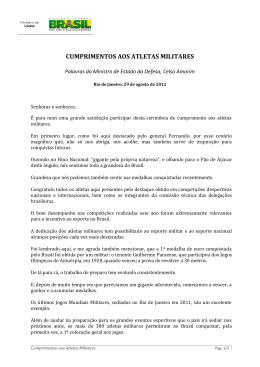 CUMPRIMENTOS AOS ATLETAS MILITARES
