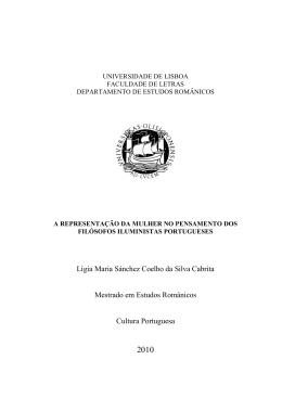 Lígia Maria Sánchez Coelho da Silva Cabrita Mestrado em Estudos
