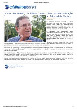 `Claro que aceito`, diz Edson Giroto sobre possível - TCE