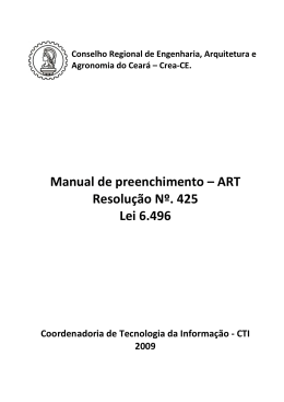 Manual de preenchimento – ART Resolução Nº. 425 Lei - Crea-CE