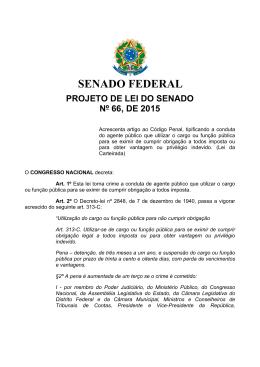 PROJETO DE LEI DO SENADO Nº 66, DE 2015