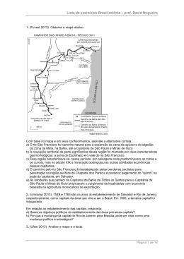 Lista de exercícios Brasil colônia – prof. David Nogueira