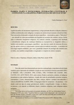 PADRES, PAJÉS E FEITICEIROS: INTERAÇÕES