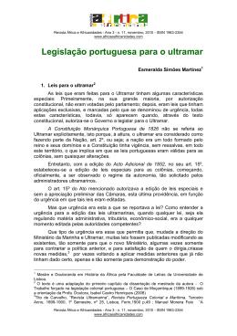Legislação portuguesa para o ultramar