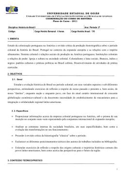 HISTÓRIA DO BRASIL I