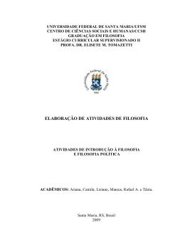 ELABORAÇÃO DE ATIVIDADES DE FILOSOFIA